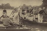 Annual custom of men catching swans to mark their beaks on the River Thames, London