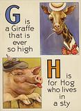G is Giraffe that is ever so high; H is for Hog who lives in a sty