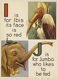 I is for Ibis its face is so red; J is for Jumbo who likes to be fed