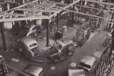An outer-body sub-assembly track at one of the Nuffield car factories