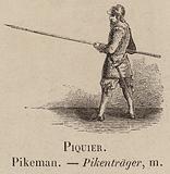 Le Vocabulaire Illustre: Piquier; Pikeman; Pikentrager