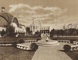 San Diego: The Botanical Gardens showing Botanical Building on the left and Varied Industries Building in the Center, …