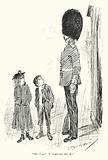 Boy and girl looking up at a guardsman