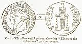 "Coin of Claudius and Agrippa, showing ""Diana of the Ephesians"" on the Reverse"