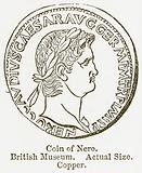 Coin of Nero. British Museum. Actual Size. Copper.