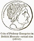 Coin of Ptolemy Euergetes in British Museum – Actual Size (Silver)