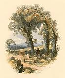 A churchyard scene