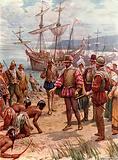 Sir Walter Raleigh landing in Virginia