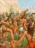 Battle between l'Orebana and a tribe of women near the river Amazon