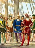 Cristopher Columbus and his brothers Bartolomeo and Diego are taken prisoner on a ship that will take them to Spain