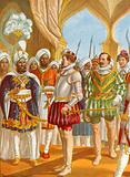 Conversation between Pietro Alvares Cabral and the king of Calicut
