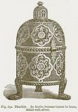 Thurible. An Arabic Incense-Burner in Brass, inlaid with Silver