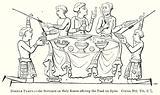 Dinner Party: – The Servants on their Knees offering the Food on Spits