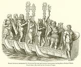 Roman General, accompanied by Standard Bearers and Common Legionaries, landing from a Bridge of Boats