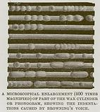 A Microscopical Enlargement (400 Times Magnified) of Part of the Wax Cylinder or Phonogram …