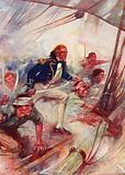 """Nelson Boarding the """"San Josef,"""" at the Battle of St. Vincent, February 14th, 1797"""