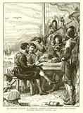 Sir Walter Raleigh at Trinidad, getting Information from the Spanish Soldiers regarding Guiana, 1595