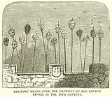 Traitors' Heads over the Gateway of Old London Bridge in the 16th Century