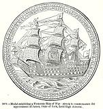 Medal exhiniting a First-Rate Ship of War; Struck to Commemorate the Appointment of James …
