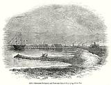 Sheerness Dockyard, and First-Rate Man-of-War lying off the Pier