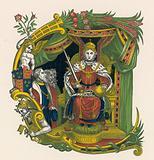 Ornamental letter E, incorporating portrait of Queen Elizabeth I