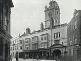 Fore Street, showing the Tower of the Church of St Giles, Cripplegate