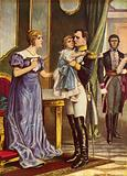 Napoleon saying goodbye to his family as he leaves for Elba