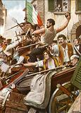 The Five Days of Milan. Citizens of all classes man the barricades