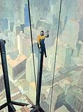 A Workman on a Dizzy Perch, High up above New York