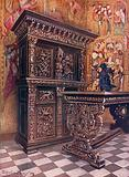 Carved Oak Armoire, Bearing the Cipher of Lambert Suavius of Liege. Carved Oak Table.
