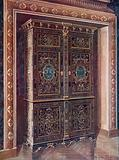Armoire in Ebony with Inlays of Engraved Brass and White Metal. Chased Ormolu Mountings.
