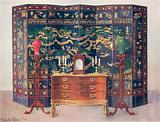 Curved Commode Table – Chippendale under French Influence. Incised and Raised Lacquered Eight-Fold Screen – Chinese