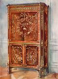 Inlaid Ormolu-Mounted Upright Secretaire of Sycamore, Tulip, Kingwood, Holly, and Other Woods – Natural and Stained