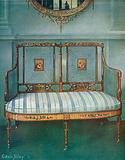 Painted Caned Satinwood Settee