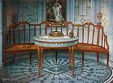 Carved Satinwood Barback Settee. Painted and Gilt Table