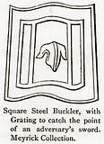 Square Steel Buckler, with Grating to Catch the Point of an Adversary's Sword. Meyrick Collection