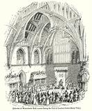Interior of Westminster Hall, as seen during the Trial of Lambert before Henry VIII