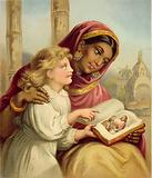 A Scripture Lesson - Indian girl teaching an English child