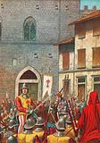 The house of Corso Donati attacked by Florentines after he is condemned as a rebel and traitor