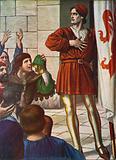 Michele di Lando in front of a jubilant crowd, 1378
