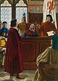 Cosimo dei Medici summoned to appear before the Signoria to defend himself against his enemies in 1433