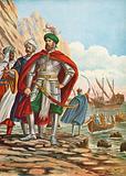 Mustafa landing on the island of Cyprus in 1570