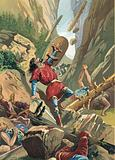 Charlemagne's forces being attacked at Roncevaux by Basque tribes