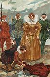 Sir Walter Raleigh offering his cloak to Queen Elizabeth I