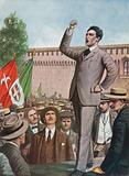 Filippo Corridoni speaks to the crowd in Milan demanding the intervention of Italy in the war