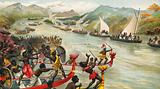 Great combat on a river in Africa