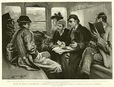 After an Easter Race-meeting, a Professor of the Three-card Trick at Work in a Railway Carriage
