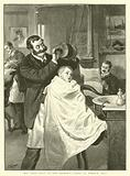 """His First Visit to the Barber's,""""Hard or Medium, Sir?"""""""