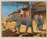 Elephants piling Teak up in Burma