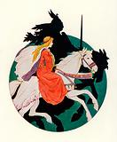 The Black Knight rides away with the maiden